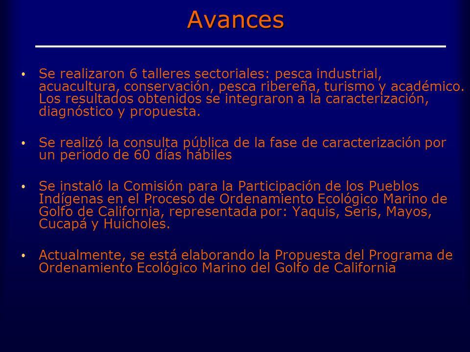 Avances Se realizaron 6 talleres sectoriales: pesca industrial, acuacultura, conservación, pesca ribereña, turismo y académico.