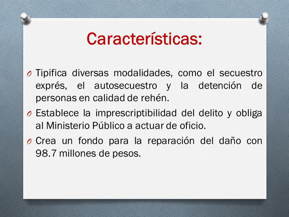 Características: O Tipifica diversas modalidades, como el secuestro exprés, el autosecuestro y la detención de personas en calidad de rehén. O Estable