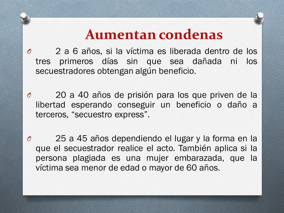 Aumentan condenas O 2 a 6 años, si la víctima es liberada dentro de los tres primeros días sin que sea dañada ni los secuestradores obtengan algún ben