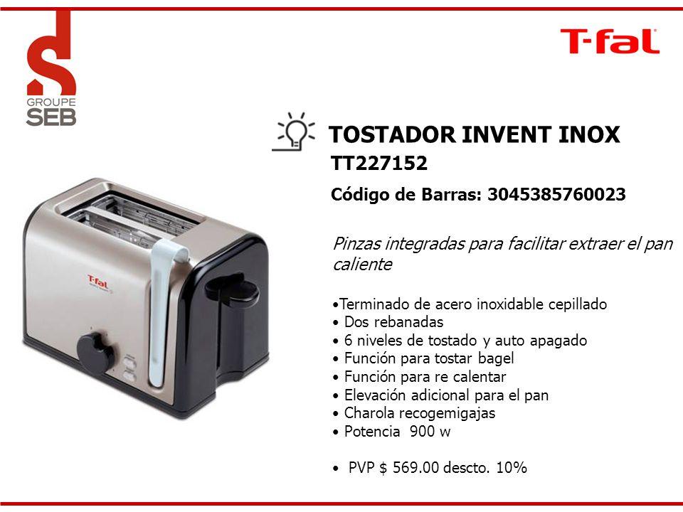 TOSTADOR INVENT INOX Pinzas integradas para facilitar extraer el pan caliente Terminado de acero inoxidable cepillado Dos rebanadas 6 niveles de tosta