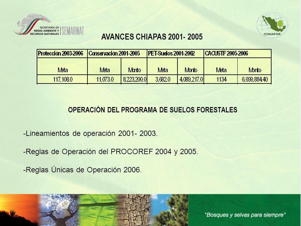 AVANCES CHIAPAS 2001- 2005 OPERACIÓN DEL PROGRAMA DE SUELOS FORESTALES -Lineamientos de operación 2001- 2003. -Reglas de Operación del PROCOREF 2004 y
