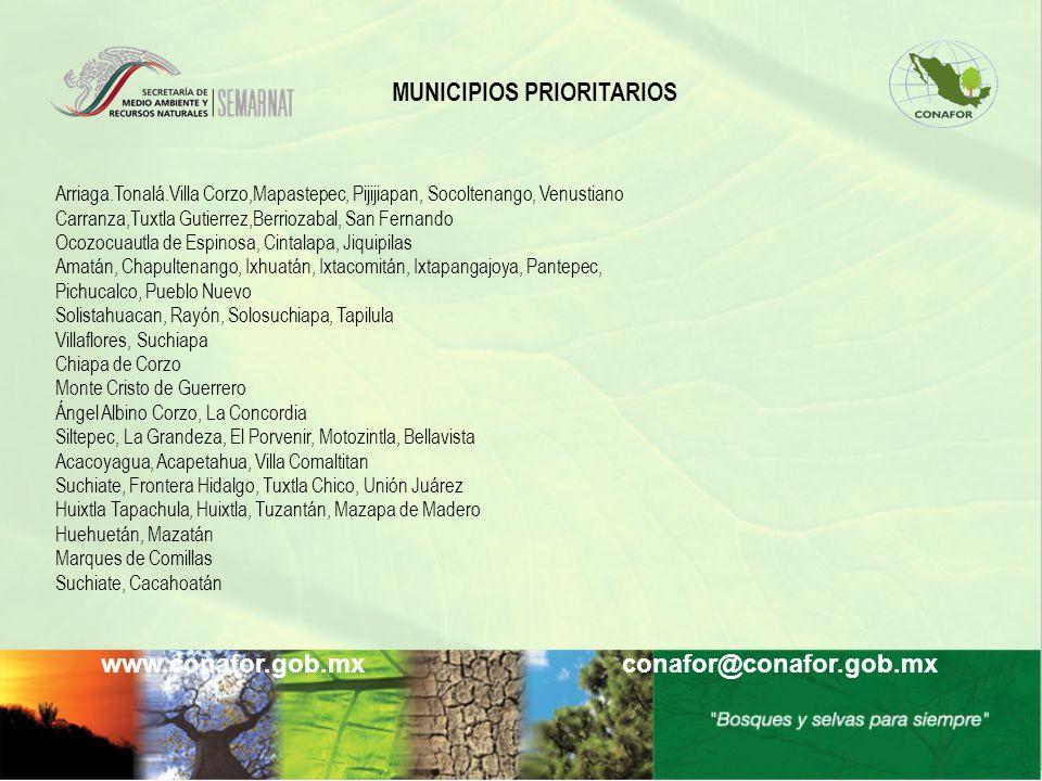 www.conafor.gob.mx conafor@conafor.gob.mx Arriaga.Tonalá.Villa Corzo,Mapastepec, Pijijiapan, Socoltenango, Venustiano Carranza,Tuxtla Gutierrez,Berrio