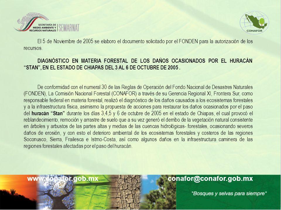 www.conafor.gob.mx conafor@conafor.gob.mx El 5 de Noviembre de 2005 se elaboro el documento solicitado por el FONDEN para la autorización de los recur