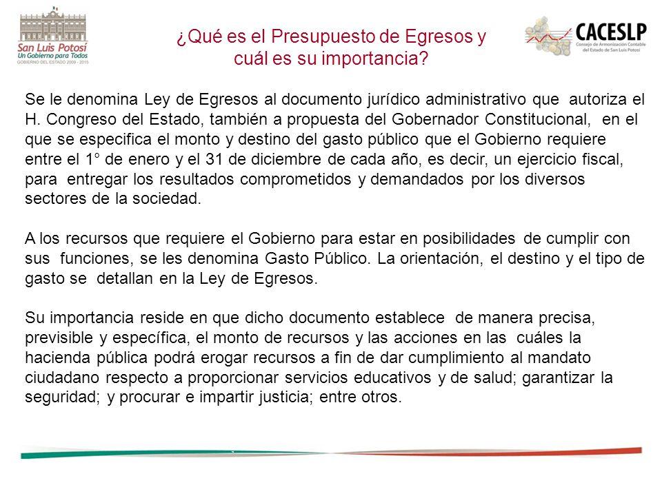 Se le denomina Ley de Egresos al documento jurídico administrativo que autoriza el H.