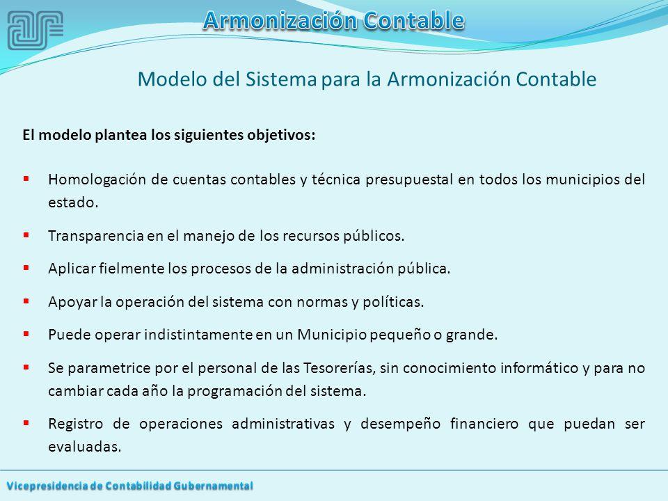 El modelo plantea los siguientes objetivos: Homologación de cuentas contables y técnica presupuestal en todos los municipios del estado.