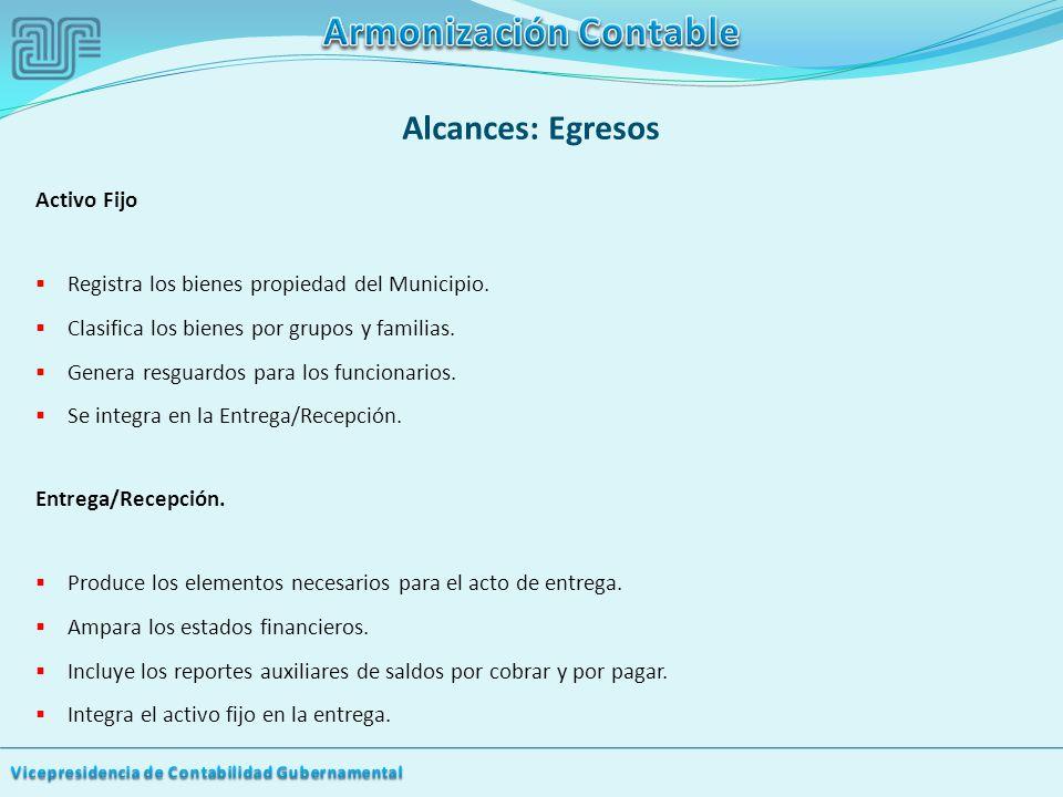 Alcances: Egresos Activo Fijo Registra los bienes propiedad del Municipio.