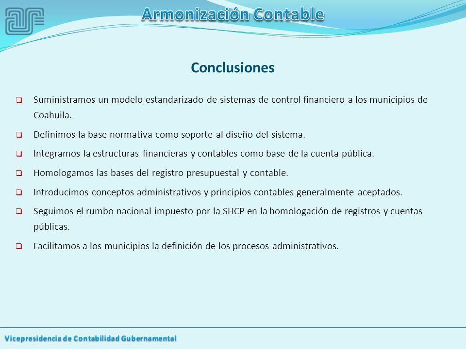 Conclusiones Suministramos un modelo estandarizado de sistemas de control financiero a los municipios de Coahuila.