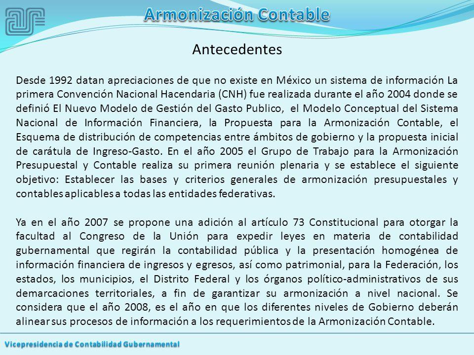 Antecedentes Desde 1992 datan apreciaciones de que no existe en México un sistema de información La primera Convención Nacional Hacendaria (CNH) fue realizada durante el año 2004 donde se definió El Nuevo Modelo de Gestión del Gasto Publico, el Modelo Conceptual del Sistema Nacional de Información Financiera, la Propuesta para la Armonización Contable, el Esquema de distribución de competencias entre ámbitos de gobierno y la propuesta inicial de carátula de Ingreso-Gasto.