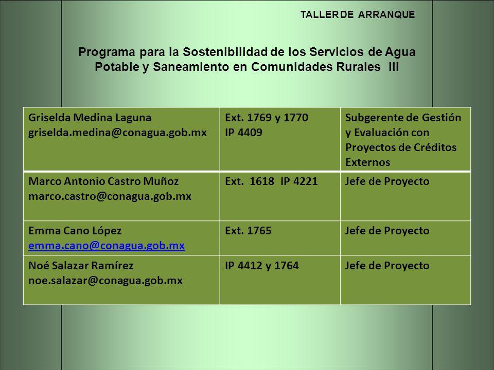 TALLER DE ARRANQUE Programa para la Sostenibilidad de los Servicios de Agua Potable y Saneamiento en Comunidades Rurales III Griselda Medina Laguna gr