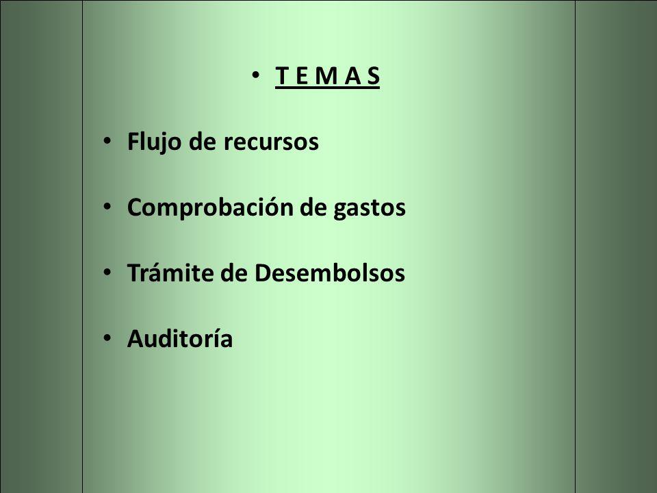 T E M A S Flujo de recursos Comprobación de gastos Trámite de Desembolsos Auditoría