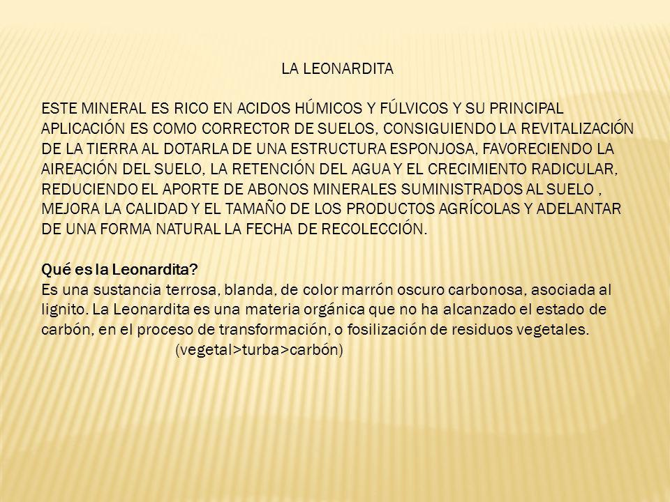 LA LEONARDITA ESTE MINERAL ES RICO EN ACIDOS HÚMICOS Y FÚLVICOS Y SU PRINCIPAL APLICACIÓN ES COMO CORRECTOR DE SUELOS, CONSIGUIENDO LA REVITALIZACIÓN