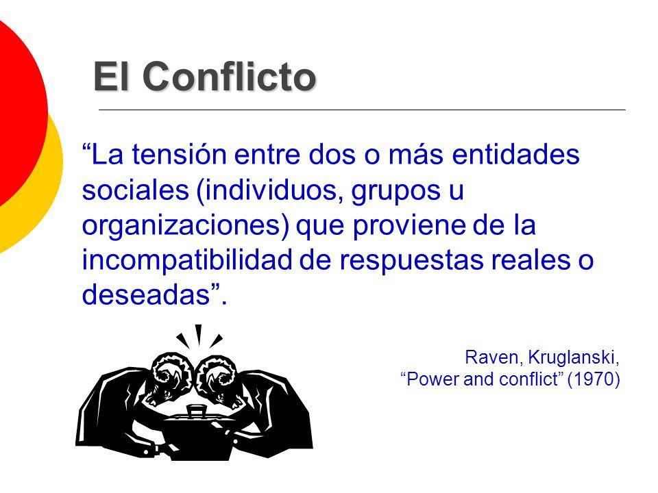 El Conflicto La tensión entre dos o más entidades sociales (individuos, grupos u organizaciones) que proviene de la incompatibilidad de respuestas rea