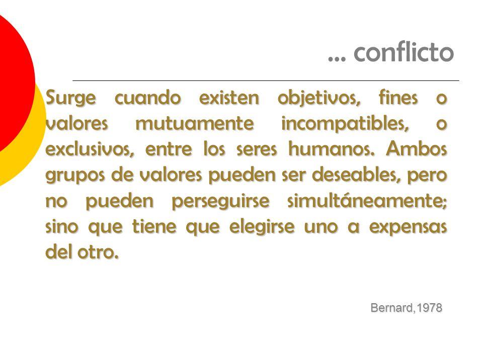 … conflicto Surge cuando existen objetivos, fines o valores mutuamente incompatibles, o exclusivos, entre los seres humanos. Ambos grupos de valores p
