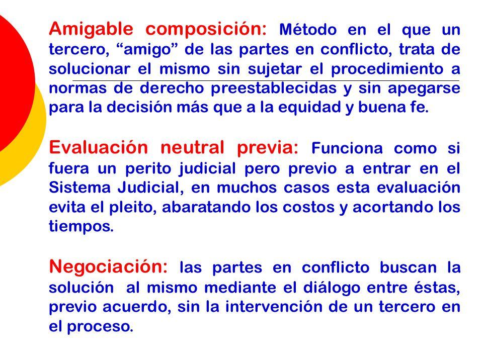 Amigable composición: Método en el que un tercero, amigo de las partes en conflicto, trata de solucionar el mismo sin sujetar el procedimiento a norma