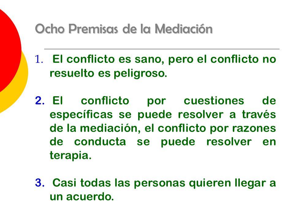 Ocho Premisas de la Mediación 1. El conflicto es sano, pero el conflicto no resuelto es peligroso. 2. El conflicto por cuestiones de específicas se pu