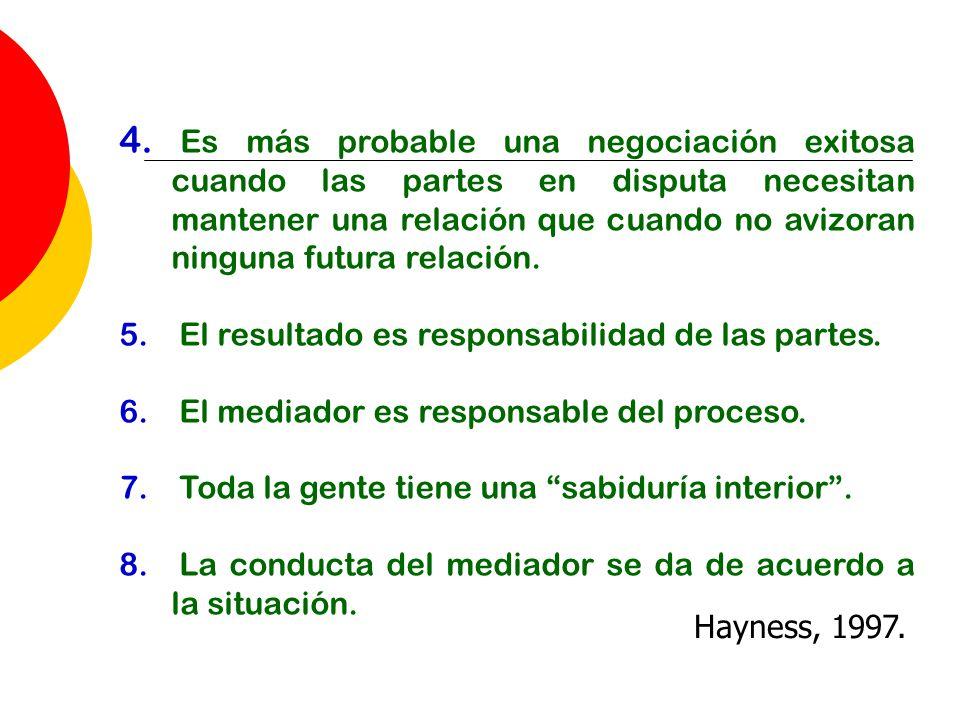 4. Es más probable una negociación exitosa cuando las partes en disputa necesitan mantener una relación que cuando no avizoran ninguna futura relación