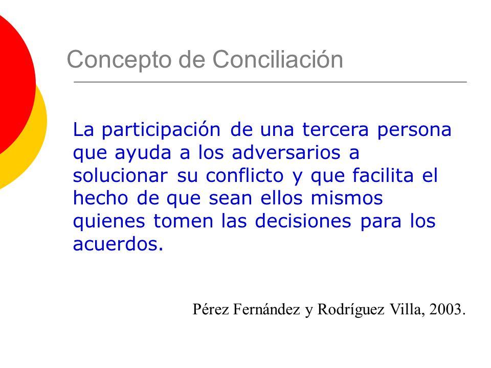 Pérez Fernández y Rodríguez Villa, 2003. Concepto de Conciliación La participación de una tercera persona que ayuda a los adversarios a solucionar su