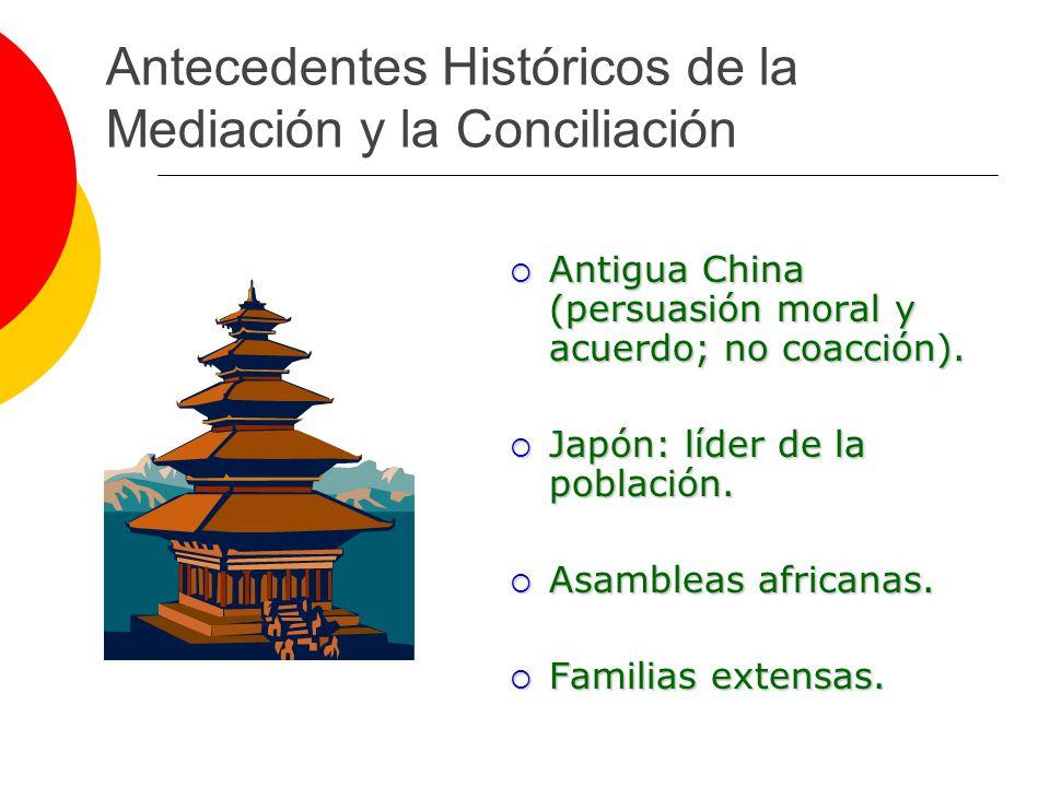 Antecedentes Históricos de la Mediación y la Conciliación Antigua China (persuasión moral y acuerdo; no coacción). Antigua China (persuasión moral y a