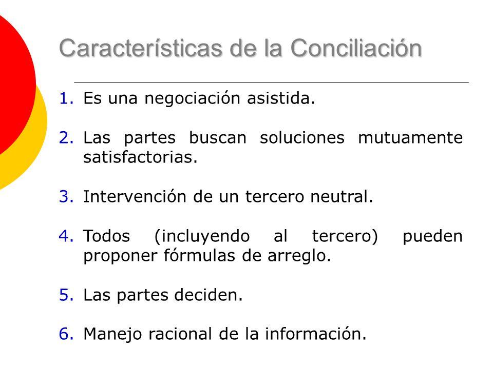 Características de la Conciliación 1.Es una negociación asistida. 2.Las partes buscan soluciones mutuamente satisfactorias. 3.Intervención de un terce