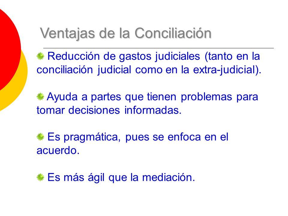 Ventajas de la Conciliación Reducción de gastos judiciales (tanto en la conciliación judicial como en la extra-judicial). Ayuda a partes que tienen pr