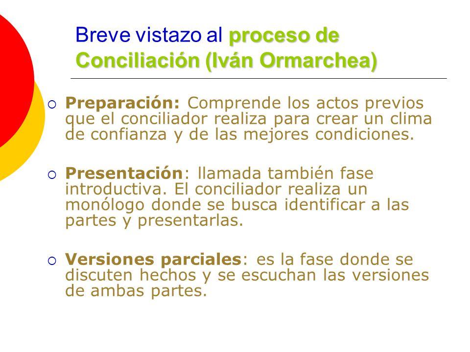 proceso de Conciliación (Iván Ormarchea) Breve vistazo al proceso de Conciliación (Iván Ormarchea) Preparación: Comprende los actos previos que el conciliador realiza para crear un clima de confianza y de las mejores condiciones.