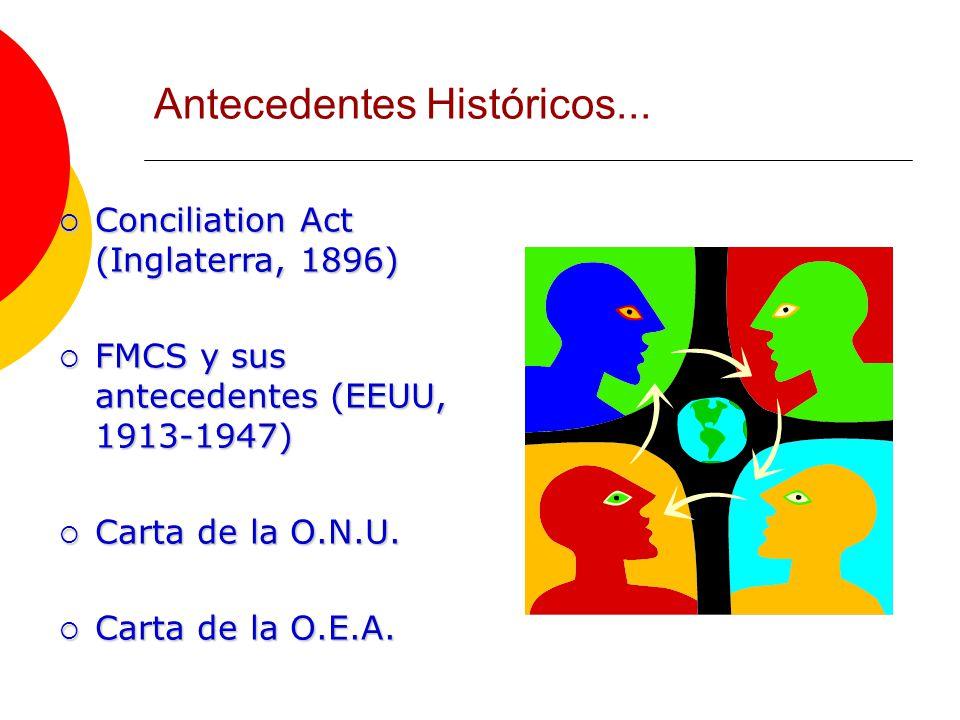 Conciliation Act (Inglaterra, 1896) Conciliation Act (Inglaterra, 1896) FMCS y sus antecedentes (EEUU, 1913-1947) FMCS y sus antecedentes (EEUU, 1913-