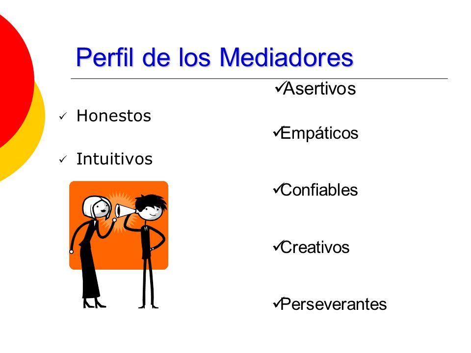 Perfil de los Mediadores Honestos Intuitivos Empáticos Confiables Creativos Perseverantes Asertivos