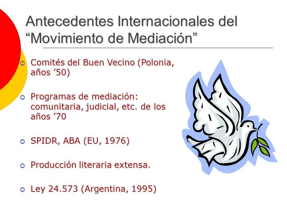 Antecedentes Internacionales del Movimiento de Mediación Comités del Buen Vecino (Polonia, años 50) Comités del Buen Vecino (Polonia, años 50) Programas de mediación: comunitaria, judicial, etc.