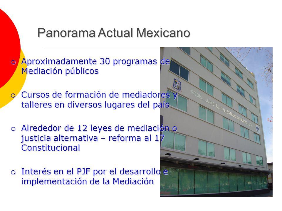 Panorama Actual Mexicano Aproximadamente 30 programas de Mediación públicos Aproximadamente 30 programas de Mediación públicos Cursos de formación de