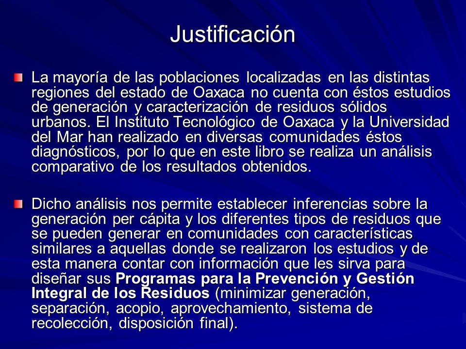 Justificación La mayoría de las poblaciones localizadas en las distintas regiones del estado de Oaxaca no cuenta con éstos estudios de generación y caracterización de residuos sólidos urbanos.