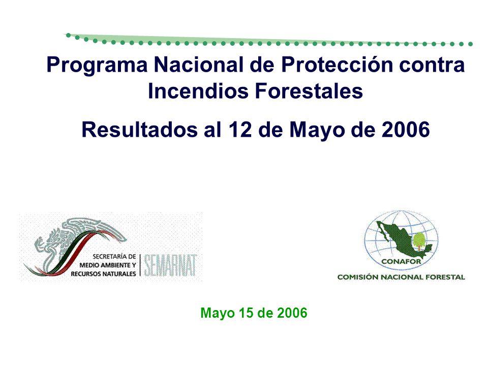 Mayo 15 de 2006 Programa Nacional de Protección contra Incendios Forestales Resultados al 12 de Mayo de 2006