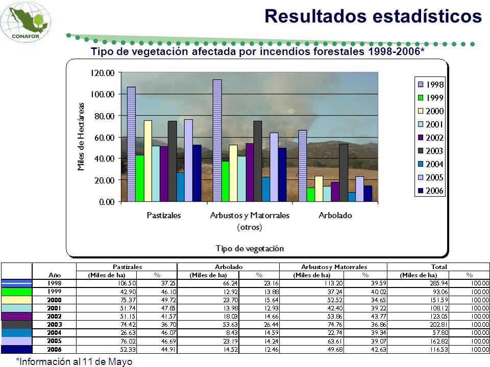 Tipo de vegetación afectada por incendios forestales 1998-2006* Resultados estadísticos *Información al 11 de Mayo