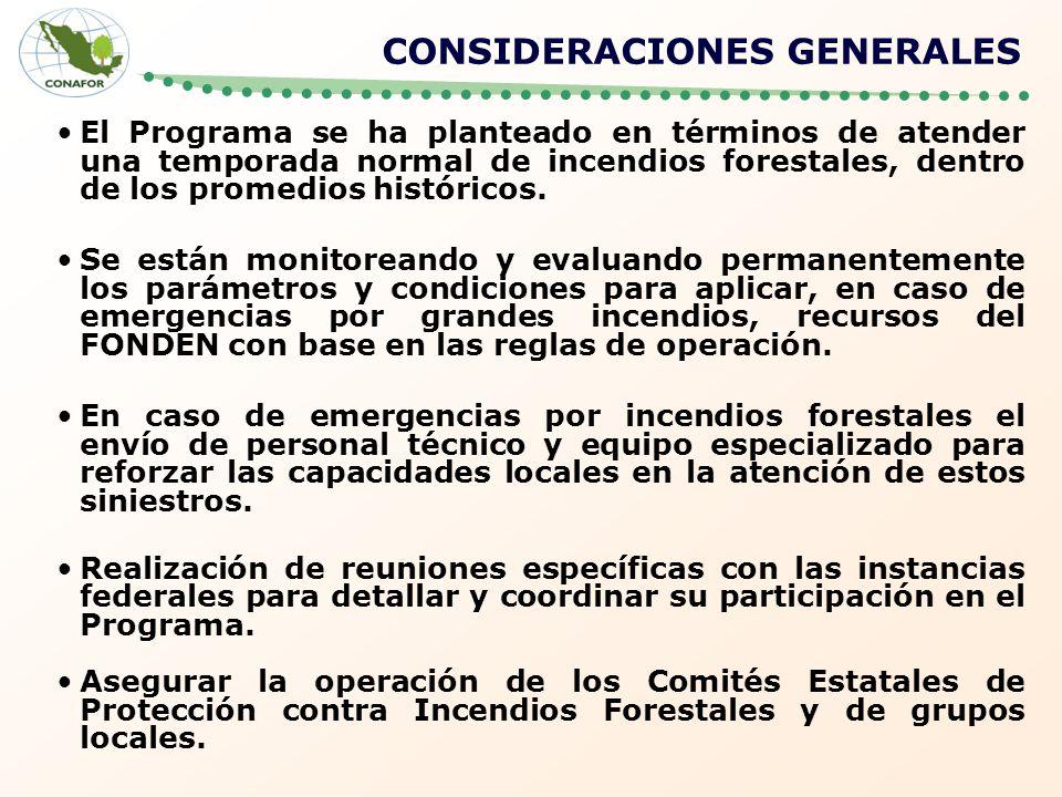 CONSIDERACIONES GENERALES El Programa se ha planteado en términos de atender una temporada normal de incendios forestales, dentro de los promedios his