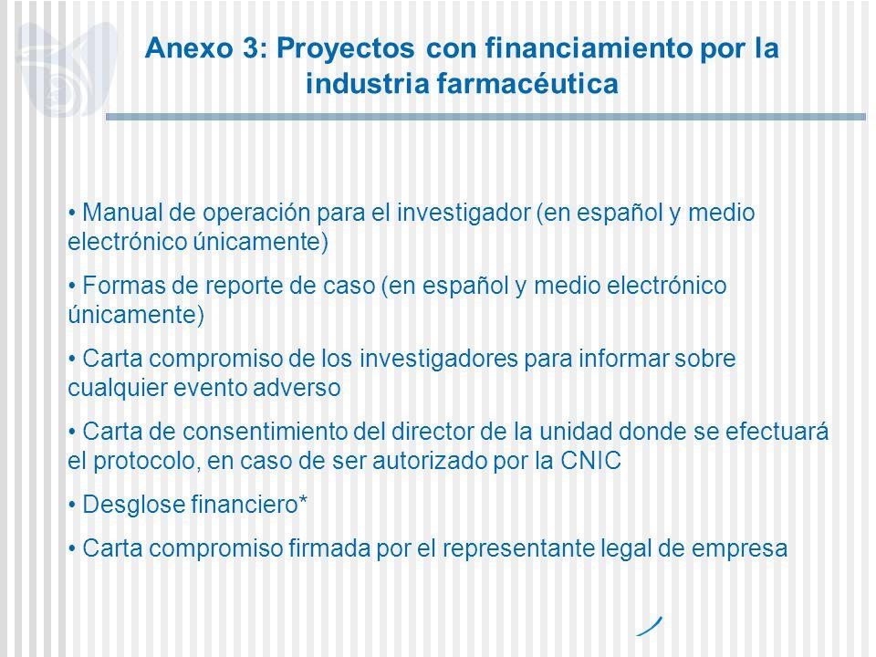 Anexo 3: Proyectos con financiamiento por la industria farmacéutica Manual de operación para el investigador (en español y medio electrónico únicament