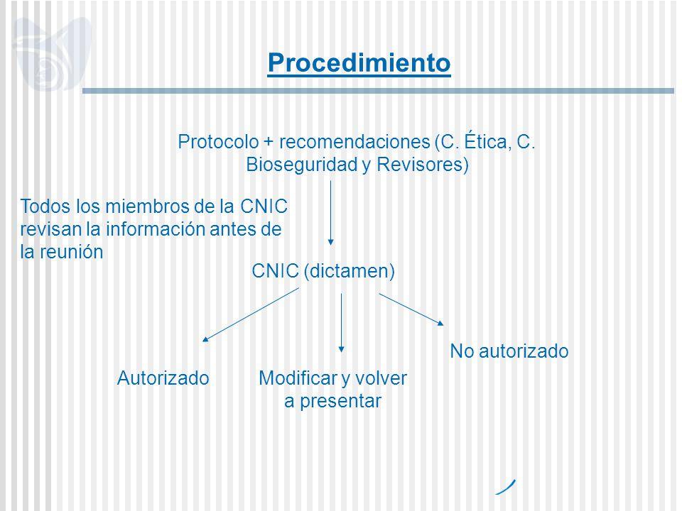 Protocolo + recomendaciones (C. Ética, C. Bioseguridad y Revisores) CNIC (dictamen) AutorizadoModificar y volver a presentar No autorizado Procedimien