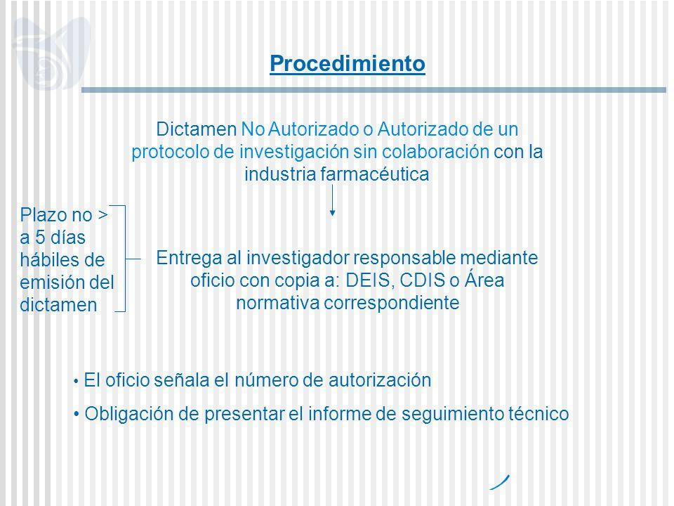 Dictamen No Autorizado o Autorizado de un protocolo de investigación sin colaboración con la industria farmacéutica Entrega al investigador responsabl