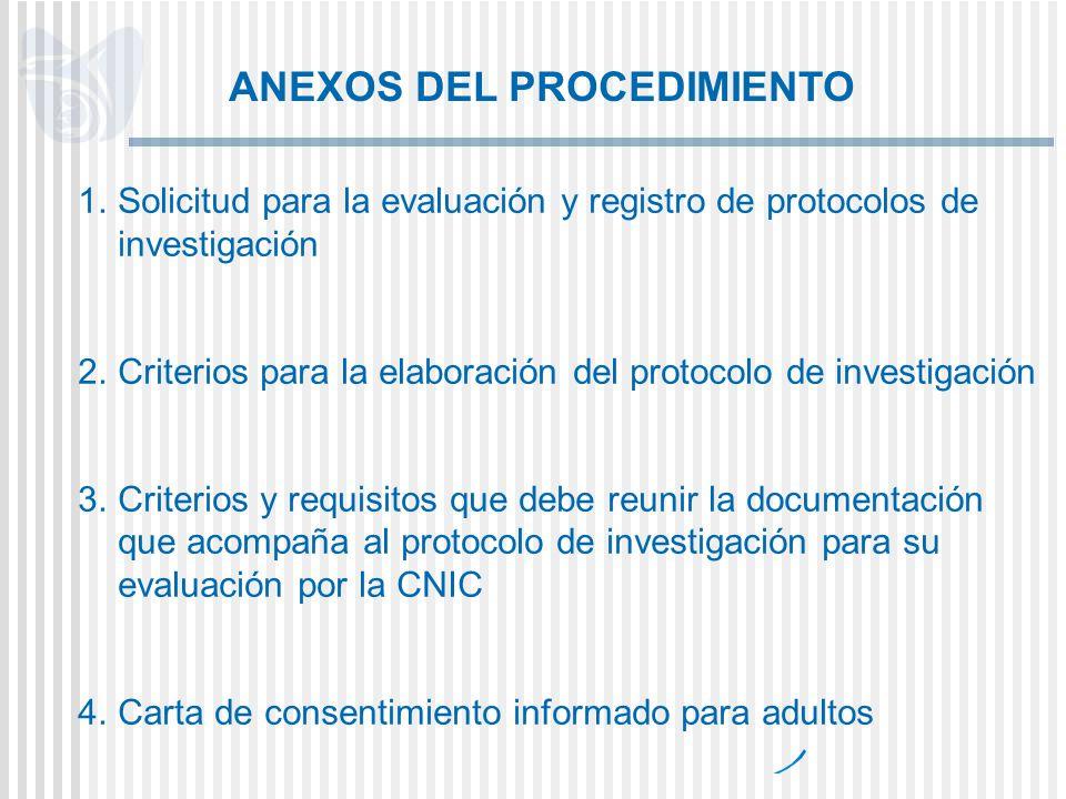 1.Solicitud para la evaluación y registro de protocolos de investigación 2.Criterios para la elaboración del protocolo de investigación 3.Criterios y