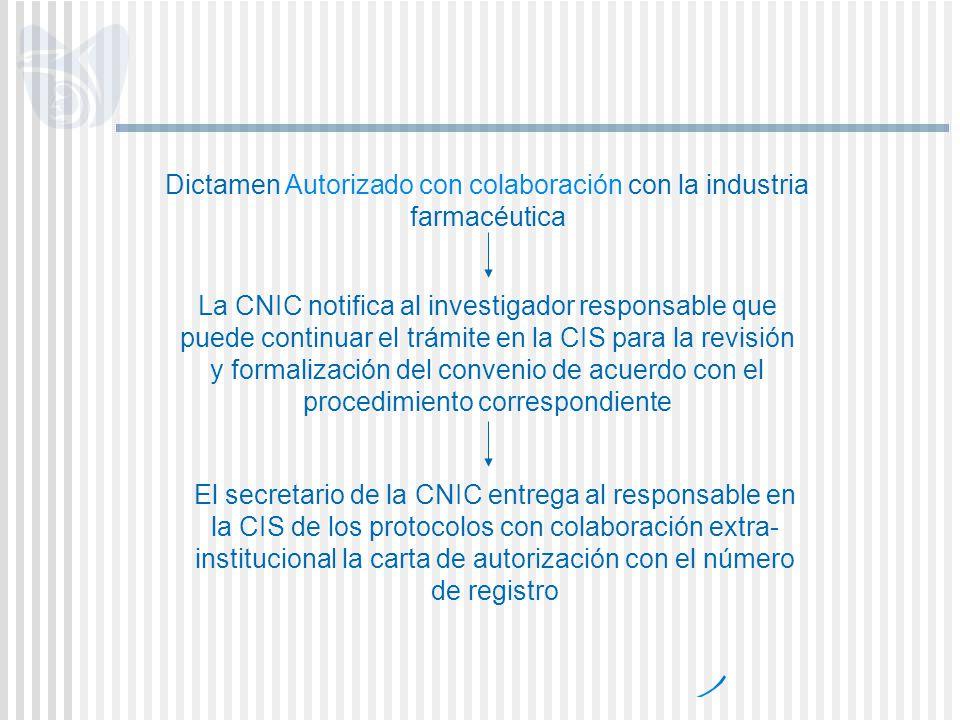 Dictamen Autorizado con colaboración con la industria farmacéutica La CNIC notifica al investigador responsable que puede continuar el trámite en la C