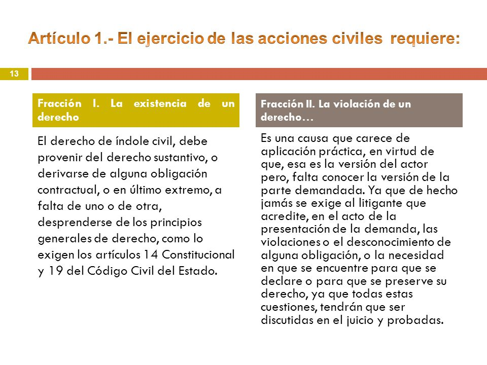 El derecho de índole civil, debe provenir del derecho sustantivo, o derivarse de alguna obligación contractual, o en último extremo, a falta de uno o