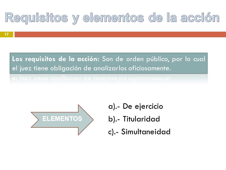 17 a).- De ejercicio b).- Titularidad c).- Simultaneidad ELEMENTOS