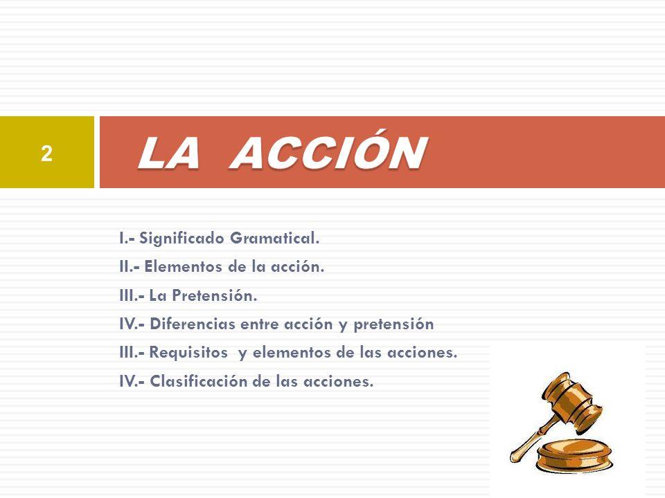 I.- Significado Gramatical. II.- Elementos de la acción. III.- La Pretensión. IV.- Diferencias entre acción y pretensión III.- Requisitos y elementos