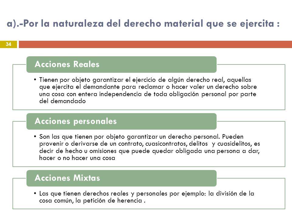 a).-Por la naturaleza del derecho material que se ejercita : 34 Tienen por objeto garantizar el ejercicio de algún derecho real, aquellas que ejercita