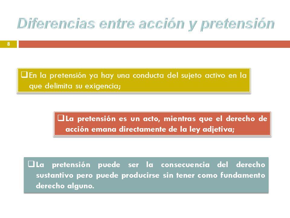 8 La pretensión es un acto, mientras que el derecho de acción emana directamente de la ley adjetiva; La pretensión puede ser la consecuencia del derec