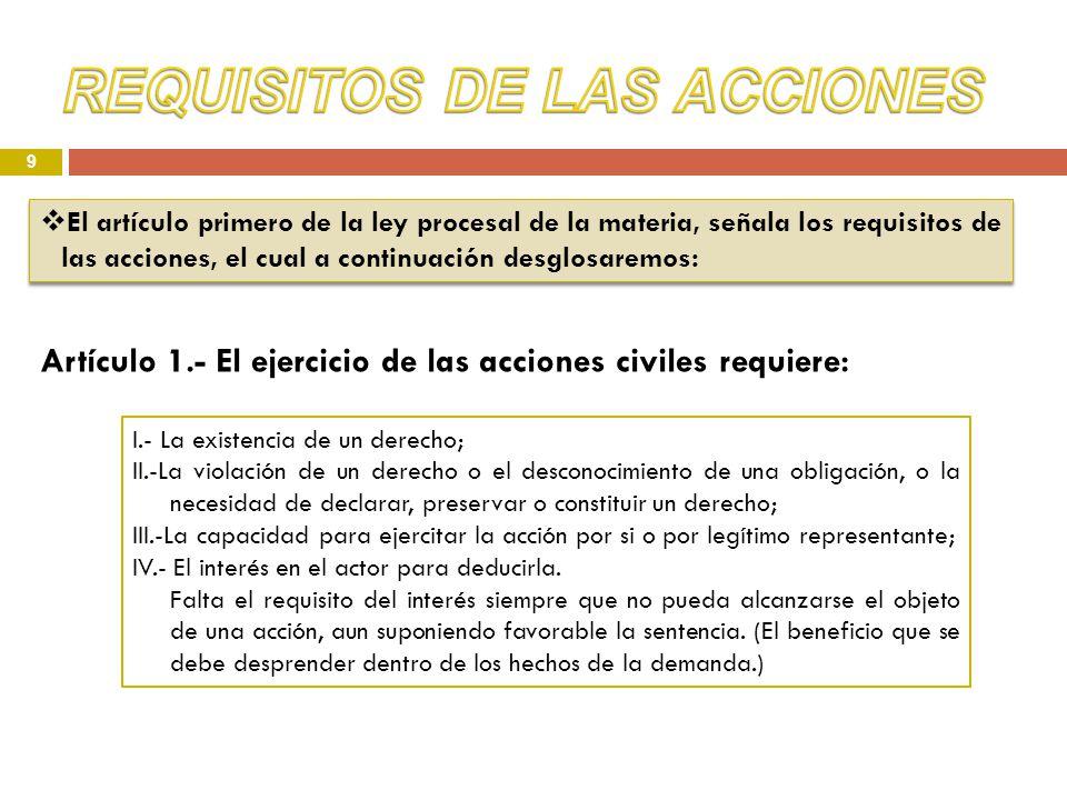 9 Artículo 1.- El ejercicio de las acciones civiles requiere: El artículo primero de la ley procesal de la materia, señala los requisitos de las accio