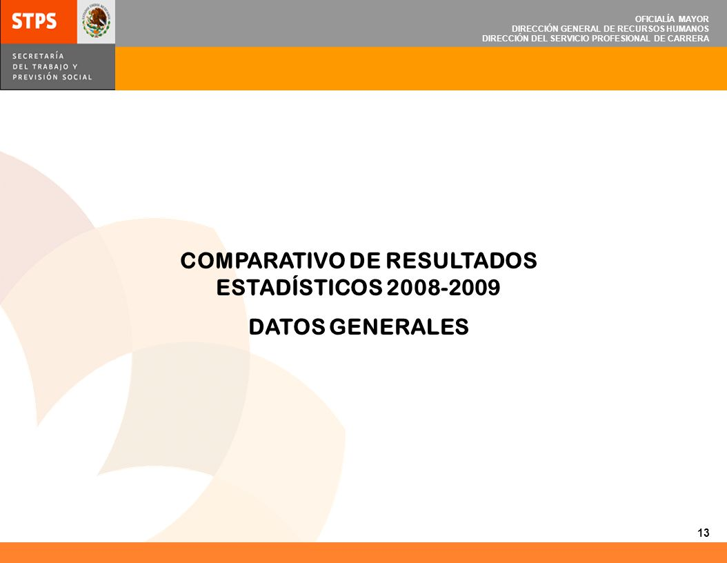 OFICIALÍA MAYOR DIRECCIÓN GENERAL DE RECURSOS HUMANOS DIRECCIÓN DEL SERVICIO PROFESIONAL DE CARRERA COMPARATIVO DE RESULTADOS ESTADÍSTICOS 2008-2009 D