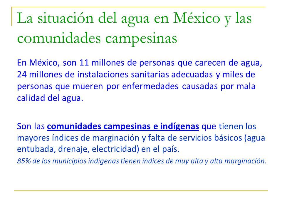 La situación del agua en México y las comunidades campesinas En México, son 11 millones de personas que carecen de agua, 24 millones de instalaciones sanitarias adecuadas y miles de personas que mueren por enfermedades causadas por mala calidad del agua.