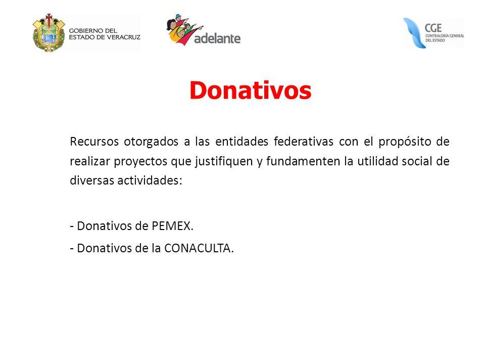 Donativos Recursos otorgados a las entidades federativas con el propósito de realizar proyectos que justifiquen y fundamenten la utilidad social de di