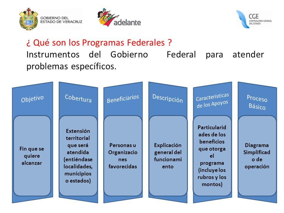 ¿ Qué son los Programas Federales ? Instrumentos del Gobierno Federal para atender problemas específicos. Fin que se quiere alcanzar Extensión territo