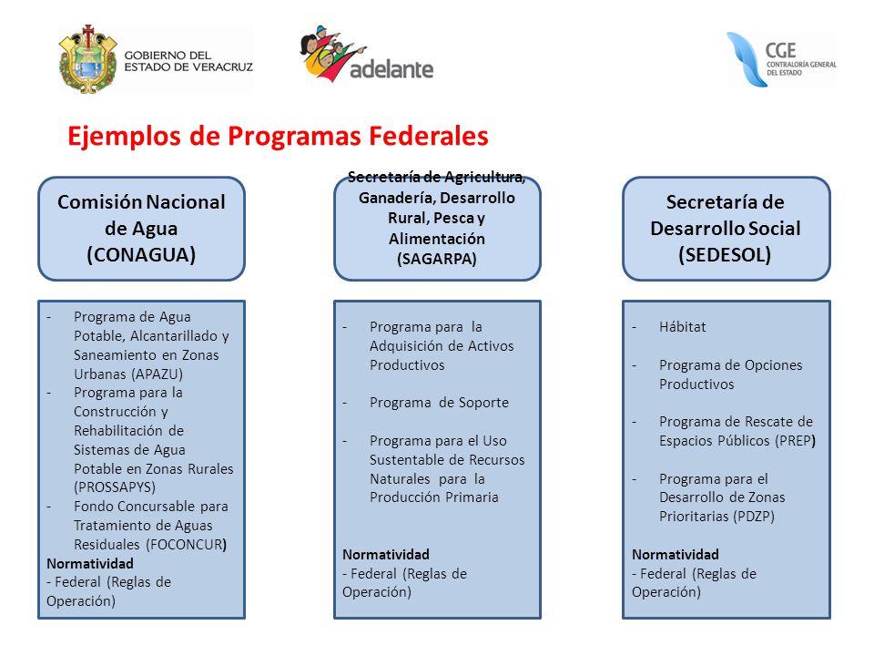 Ejemplos de Programas Federales Comisión Nacional de Agua (CONAGUA) Secretaría de Agricultura, Ganadería, Desarrollo Rural, Pesca y Alimentación (SAGA