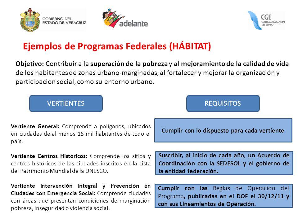 Ejemplos de Programas Federales (HÁBITAT) Objetivo: Contribuir a la superación de la pobreza y al mejoramiento de la calidad de vida de los habitantes